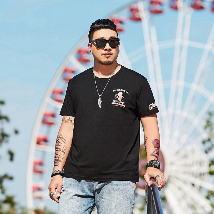 時尚服飾潮胖子大碼男裝夏裝男士加肥加大寬松260斤肥佬歐美印花短袖T恤7x