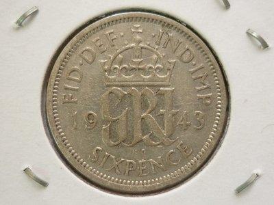 ☆豐臣館☆錢幣 英國(GREAT BRITAIN)1943年喬治六世 6 PENCE 銀幣(含銀50%)~J004