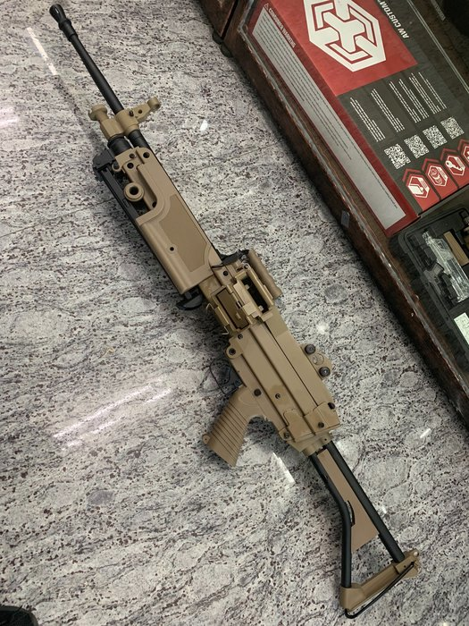 JHS((金和勝 生存遊戲專賣))沙色A&K 含彈鼓 M249 STD 電動機槍 6414