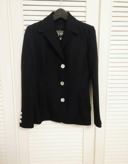 真品【Gianfranco Ferre】深黑立體布紋西裝外套