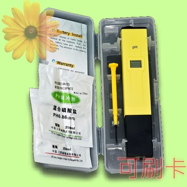 5Cgo【權宇】ATC 公司貨分山寨版 餐廳 廚房 數字pH 液晶顯示簡易型檢測儀筆 + 2緩衝溶液 PH-009 含稅