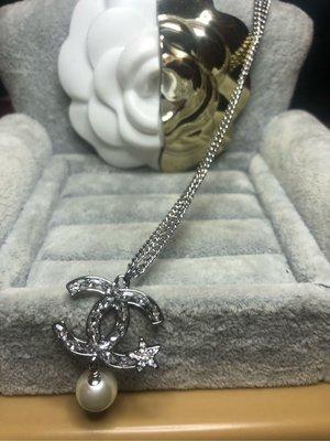 香奈兒 CHANEL 二手 超美 銀色 水滴鑽 星星 珍珠 項鍊 苗栗縣