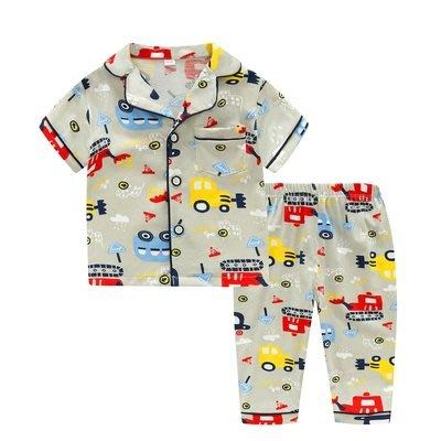 •*~ 辣媽咪衣飾小舖 ~*•❤童裝系列❤K950196韓版兒童夏款超可愛萌款『堆土機』圖案家居服上衣+長褲二件套