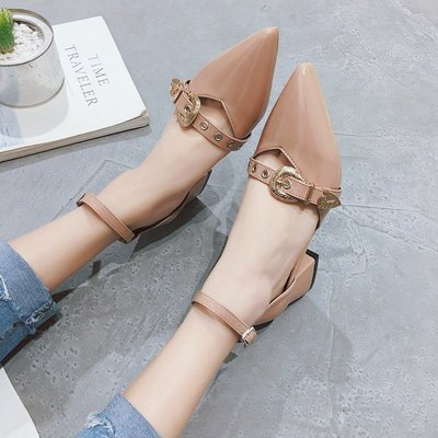 2018春季新款單鞋中跟小清新女鞋韓版百搭皮鞋子一字扣粗跟高跟鞋
