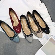 柒柒KR 正韓百搭風 亮面圓頭可愛系帶蝴蝶結設計淺口低幫單鞋小紅鞋甜美低跟