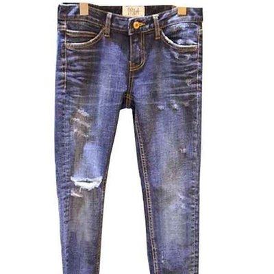 牛仔窄管長褲 新款藍作舊古著破洞牛仔長褲 艾爾莎 【TGK7792】