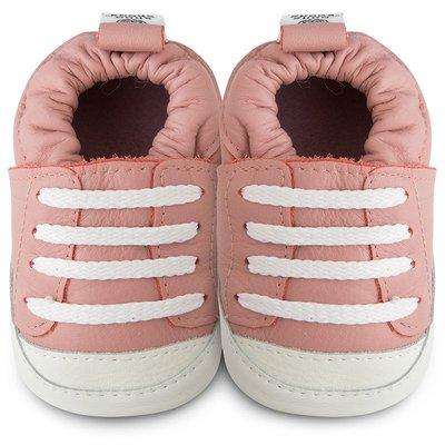【愛寶貝】英國 shooshoos 健康無毒真皮手工學步鞋/嬰兒鞋/室內保暖鞋_粉橘運動款_SS103348(公司貨)