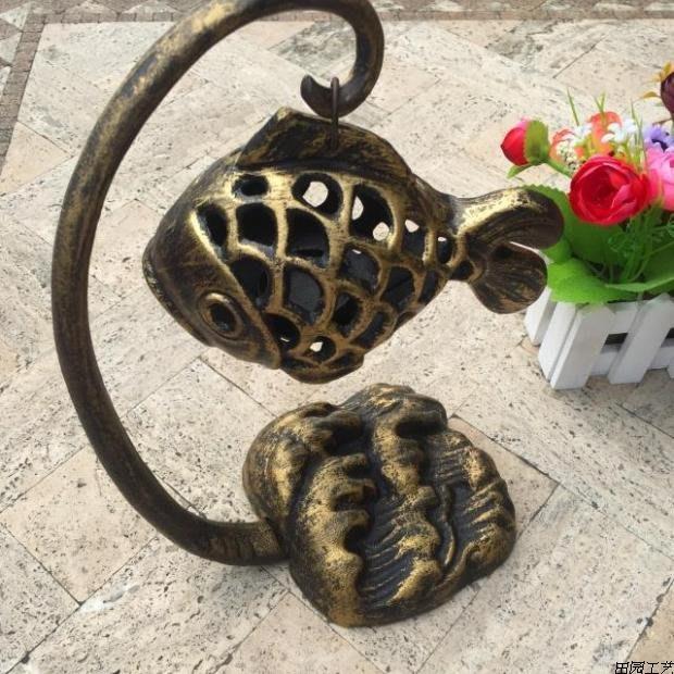 金屬仿古南部鑄鐵掛飾擺設擺件鑄鐵油燈裝燭臺飾品鐵藝魚燈