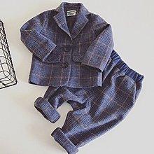 [C.M.平價精品館]80~130CM/帥氣小紳士藍格西裝二件式套裝