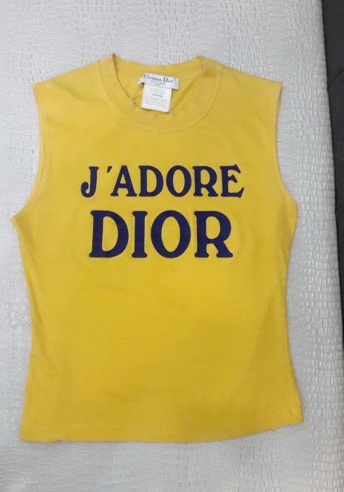 高雄(裕誠店)遠麗米濱全新二手名牌館~P0471 Dior 黃色 棉質 logo 無袖 T恤 上衣 (真品)