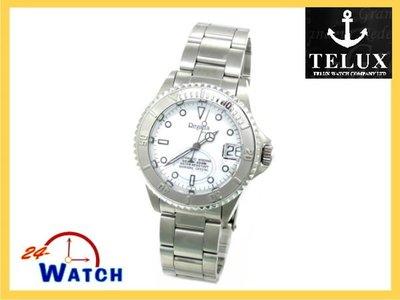 24-watch【TELUX鐵力士-REGATTA-防水200米中性運動型機械腕錶-Y9513W_白】全新公司貨免運