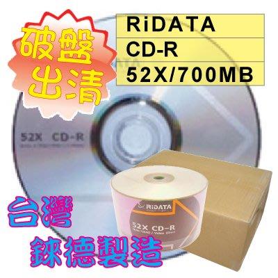 【破盤出清】台灣錸德原廠RiDATA CD-R 52X/700MB/80MIN空白燒錄光碟 600片(一箱)