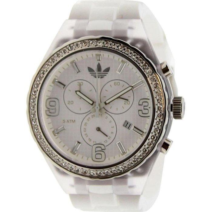 現貨 超取免運【adidas - ADH 2527】全新正品 多功能 運動型 鑲鑽 三眼 名錶 手錶 / 白色