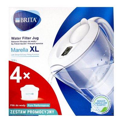 【易油網】BRITA MARELLA XL 3.5 白色濾水壺+濾心4個