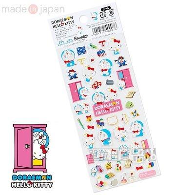 『 單位日貨 』日本正版 HELLO KITTY x 小叮噹 聯名 任意門 道具 2016手帳本 行事曆  貼紙 日本製
