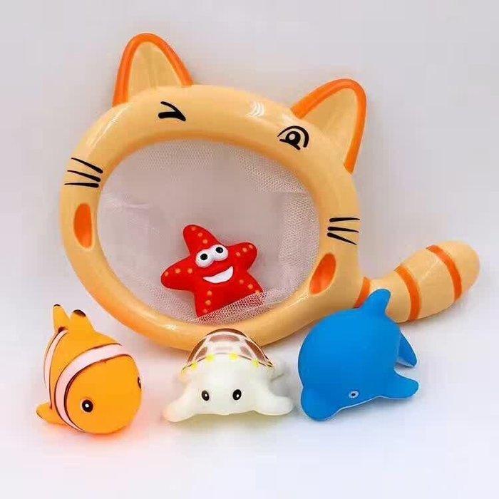 新 夏季寶寶戲水玩具大臉貓洗澡玩具 撈魚玩具 一套有貓網子+4支小動物  噴水玩具 共計5件