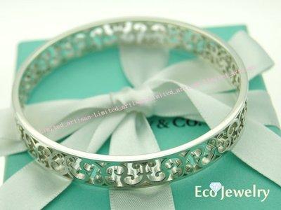 《Eco-jewelry》【Tiffany&Co】新款Enchant®系列簍空雕花手環 純銀925手環~專櫃真品已送洗