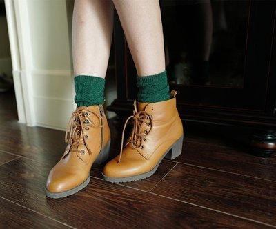 魚兒a小舖~加厚秋冬季韓國堆堆襪複古森系纯色中筒保暖襪