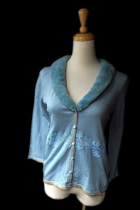*Beauty*BLUMARINE粉藍色毛毛領蕾絲開扣針織衫薄外套TG44號 10000 元IR