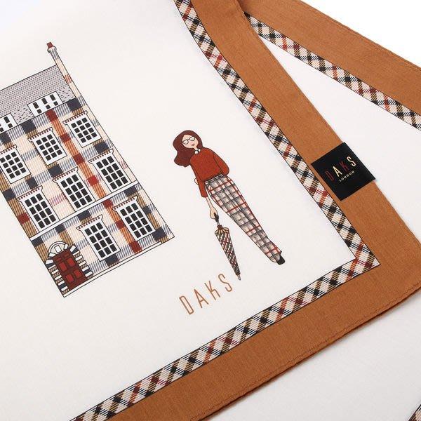 【姊只賣真貨】DAKS經典格紋100%純棉女性主張帕巾領巾手帕(白色咖啡色邊)送禮禮物自用皆可