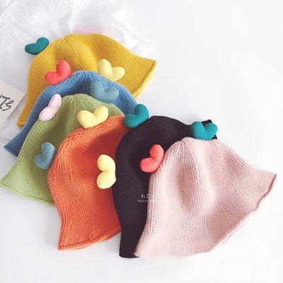 【媽媽倉庫】糖果色愛心針織漁夫帽 童帽 帽子