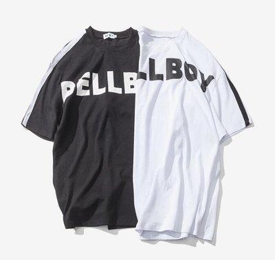 FINDSENSE品牌 男 時尚潮流 寬鬆 休閒 BELLBOY字母印花 衣袖條紋 短袖T恤 特色短T