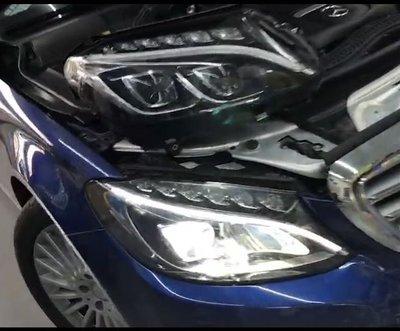 JY MOTOR 車身套件 _ BENZ W205原廠中階版單魚眼 升級 原廠高階雙魚眼LED轉向智慧 大燈 一抹藍光