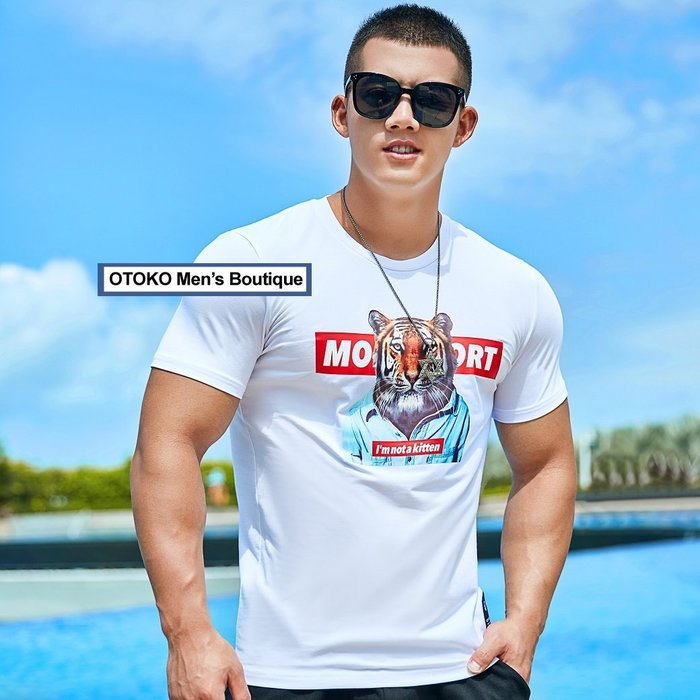 【OTOKO Men's Boutique】MOEA墨立方:tiger老虎休閒TEE/白色(台灣獨家代理)