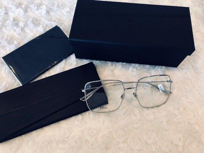 安安精品保證正品~男女皆可戴明星款DIOR 眼鏡 時尚優雅方框/銀#STELLAIREO1 010