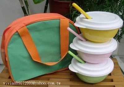 六月份新上架~台灣生產幼兒餐碗(三色碗/圓洞上蓋/三色湯匙/運動風手提碗袋)