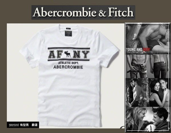 有型男~ A&F Abercrombie&Fitch 2017 春夏基本款 logo 白T 大麋鹿