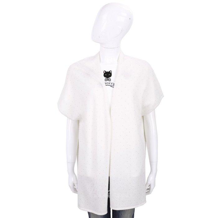 米蘭廣場 ALLUDE 喀什米爾米白色星空鑽飾長版針織羊毛罩衫 1740246-20