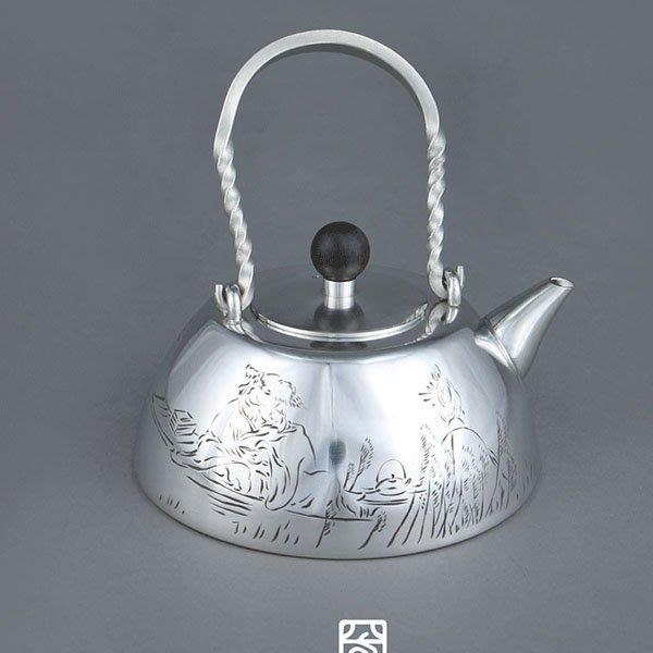5Cgo【茗道】含稅會員有優惠 549696958733 花提梁純手工手刻純錫壺茶壺燒水壺茶杯泡茶壺茶道中式複古錫器茶具
