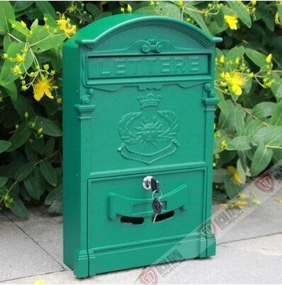 『格倫雅品』室外歐式別墅信報箱鑄鋁信箱防銹復古郵箱掛牆帶鎖-太陽郵政綠