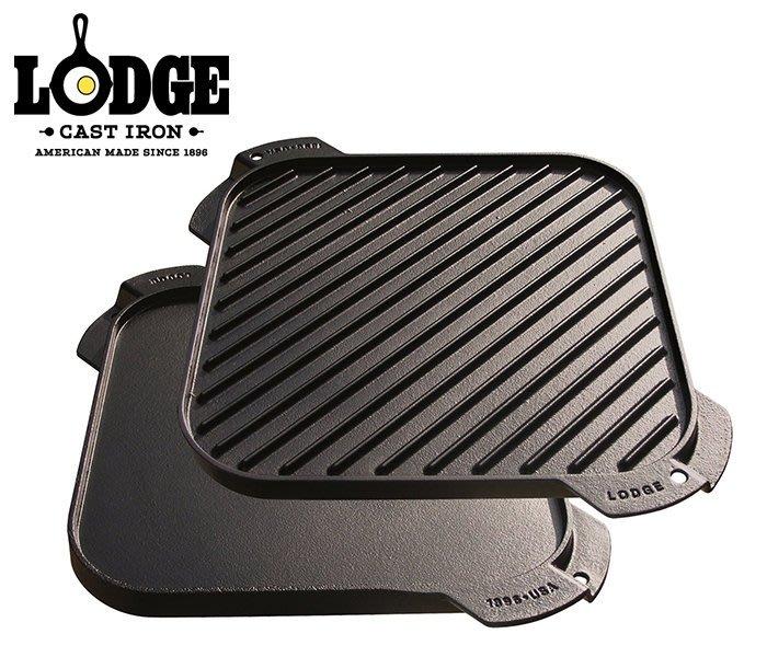 丹大戶外【LODGE】Reversible 10.5吋荷蘭鑄鐵方形平底煎盤 LSRG3