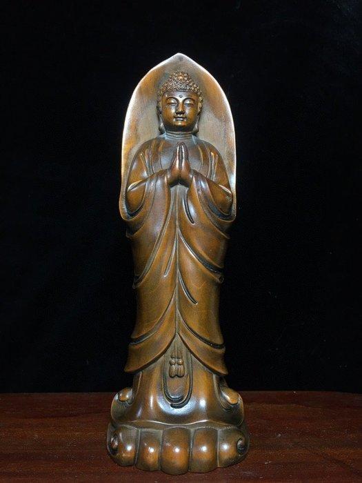 【弘慧堂】 古玩古董雜項 黃楊木浮雕釋迦摩尼佛招財納福懷舊老物價裝飾收藏