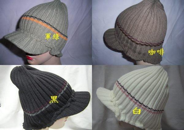 //阿寄帽舖//摺直紋毛線貼頭騎士帽   貝蕾帽  !!