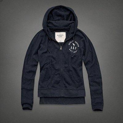 Maple麋鹿小舖 Abercrombie&Fitch * AF 藍色電繡字母麋鹿連帽外套 * ( 現貨M號 )