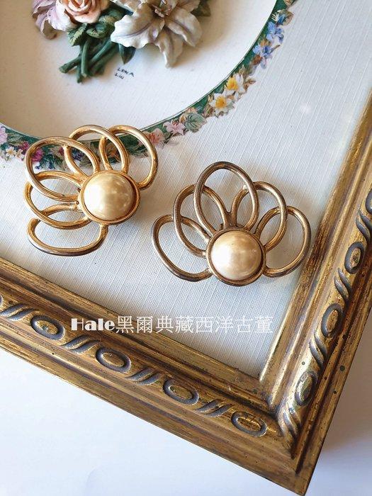黑爾典藏西洋古董~60's法國BLUETTE仿珠毛衣夾/復古鞋夾/衣領夾/~Vintage歐洲珠寶裝飾