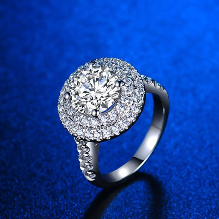 LUCKY270-正品莫桑鑽1克拉D色女款經典奢華鑲鑽鑽戒六爪八心八箭極光火彩純銀鍍鉑金