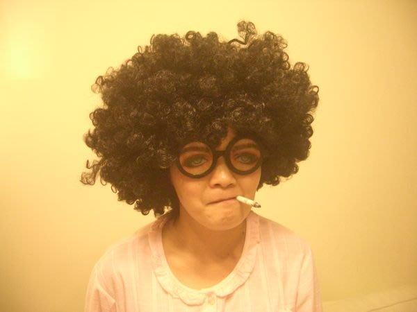 聖誕節,萬聖節.尾牙 派對 PARTY 必備 包租婆 爆炸頭套 黑色 假髮
