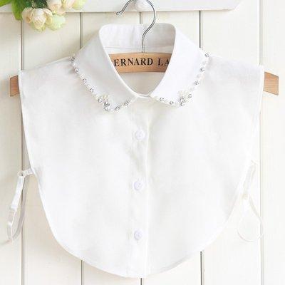 假領子襯衫領片-水鑽珍珠雪紡冬季女裝配件73vk34[獨家進口][米蘭精品]