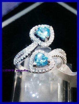 星曜**新品入荷 心心相印!天然 天空藍心型拓帕石 S925美戒指~實品更美~生日禮物 情人節禮物 送媽媽送愛人最佳選擇