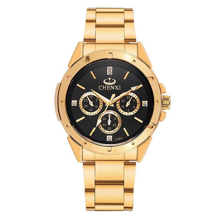 高檔鑲鉆全金手錶情侶款精鋼帶防水夜光石英錶p16
