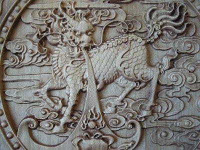 【濤晶茗緣】樟木雕刻藝術品精雕麒麟現瑞