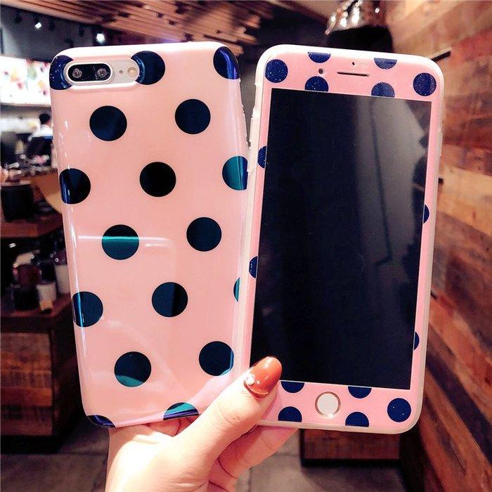 千夢貨鋪-粉色波點蘋果6鋼化膜7plus彩膜8手機殼x全屏玻璃貼膜6s女款