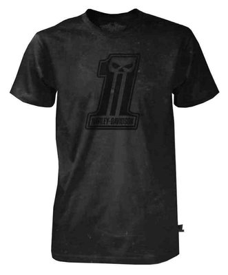 Harley-Davidson 黑標1號 哈雷機車 washed out 短袖T恤 水洗 雲霧黑色 S