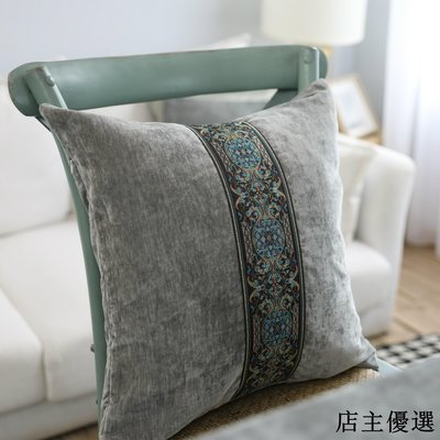 雙面絨繡花灰色北歐家用抱枕靠墊套樣板房軟包沙發靠墊套不含芯