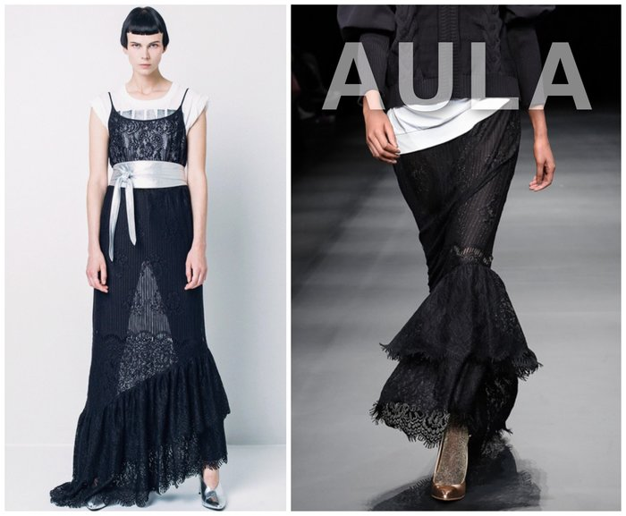 SHINY SPO 獨家代理日本品牌AULA時尚奢華高級質地刺繡全蕾絲拼接寬荷葉不規則魚尾裙下襬長裙