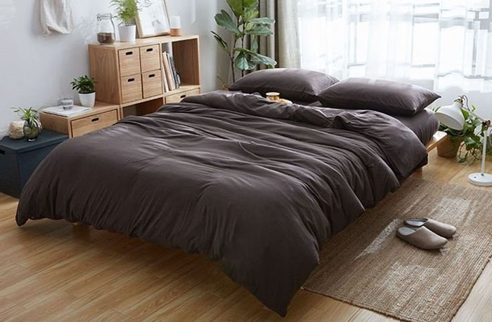 純棉親膚裸睡專用床包組(迷幻褐) 床包 床單 枕頭套 枕頭 床 棉被 被套 寢具 裸睡 純棉 床包組 拖鞋 室內拖鞋